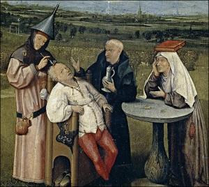 A Cura da Loucura, por Hieronymus Bosch.