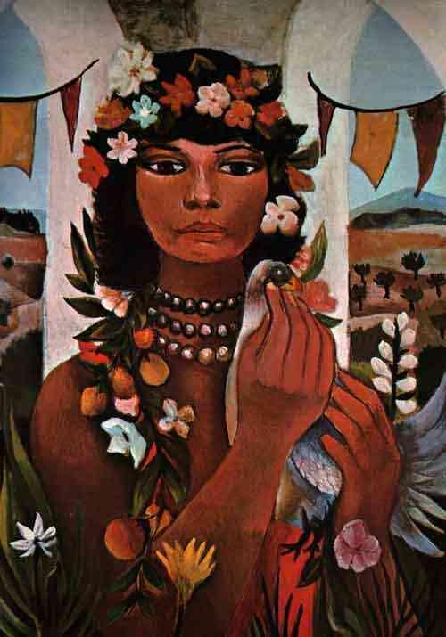 """""""Mulata"""" por Di Cavalcanti (Brasil, 1897-1976)Óleo sobre tela."""