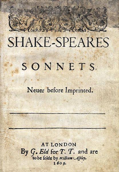 Símile de uma edição de 1609 dos sonetos Shakespearianos